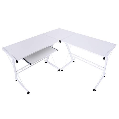 HOMCOM Computertisch Schreibtisch Arbeitsstation flexibel MDF Stahl Weiß 210 x 50 x 73,5 cm