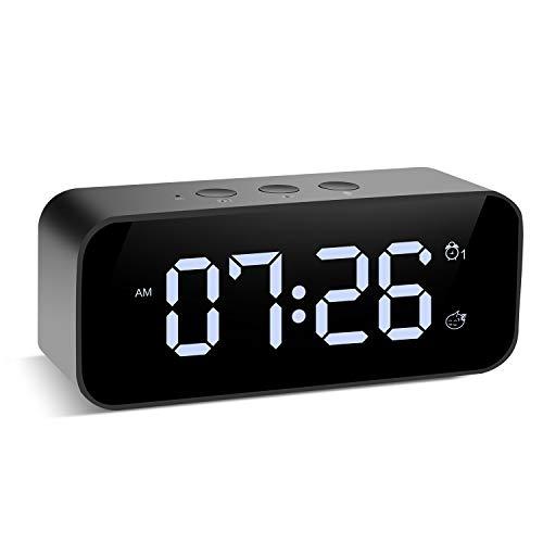 Muerkai Modern Digital Alarm Clock, with USB Port for Charging, Voice Recording, 3 Brightness, 8 Alarm Sounds & 3 Alarm Volume, Snooze Small Led Desk Clock for Kids, Bedroom, Home, Office (Black)