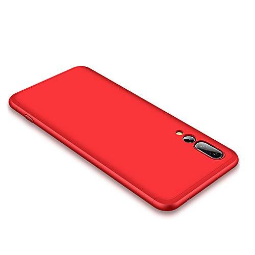 CLTPY Cover per Huawei P20, Elegante Sottile Huawei P20 Custodia [3 in 1] Completa 360 Gradi Antiurto Copertura Plastica Dura per Huawei P20 + 1 x Stilo Libero - Rosso