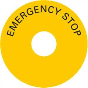 Aufkleber EMERGENCY STOP Folie Außen-Ø: 80 mm, Innen-Ø: 23 mm