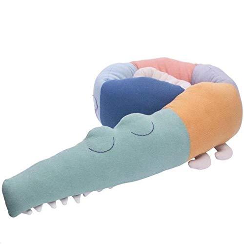 Parachoques de cama de bebé 185cm juguetes de peluche de cocodrilo almohadas largas almohadillas de cojín forro de cuna de bebé decoración de habitación infantil accesorios de fotografía