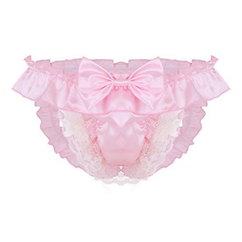dPois Mens Soft Silky Satin Frilly Ruffled Lace Girly French Maid Sissy Jockstrap Bikini Briefs Underwear Pink Medium