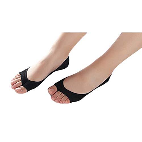 WEDFTGF - Calcetines invisibles para mujer, de verano, sin mostrar con puntera abierta, de color sólido, transpirables, con agarre antideslizante en el talón de silicona