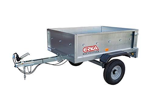 ERKA Remolque de Coche galvanizado de 1,28x0,93m. Carga útil 385kg. MMA 450kg