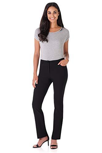 Rekucci Women's Iconic Stretch 5 Pocket Straight Leg Pant w/Zipper Closure (6,Black)