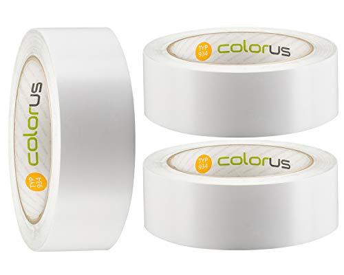 3 x Colorus Putzer-Abklebeband PLUS 38 mm x 33 m weiß glatt   Bautenschutzband für Abkleben vor dem Verputzen und Gipsen   PVC-Klebeband für Innen und Außen   Abdeckband UV-beständig