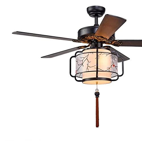 Nostalgie Fábricas de Ventilador de Techo con Luz Lackxtures 5 Cuchillas de Madera Lámparas de Ventilador de Linterna de 3 Velocidades LED12W para Dormitorio Sitio Remoto de Sala de Estar