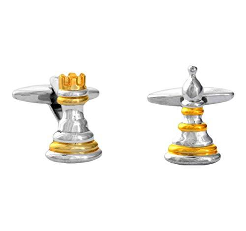 David Van Hagen Argent/Or Chess Pion et Rook boutons de manchette de
