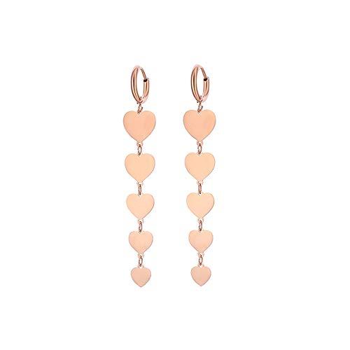 Orecchini pendenti con cuore / stella da donna, orecchini a cerchio in acciaio inossidabile ipoallergenico in argento e oro rosa con cristalli