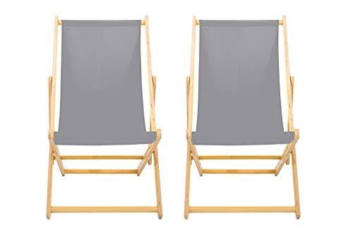 LazyStuff reclining sun lounger |Set of 2| grey READY TO USE | wooden deck chair | summer beach sun bed | garden seating | adjustable traditional folding deck chair
