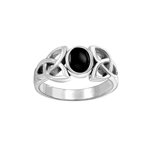 Sterling Silver Simulated Oval Black Onyx Celtic Knot Ring, Size 9