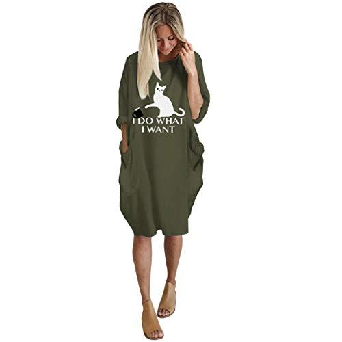 VEMOW Damenmode Tasche Lose Kleid Damen Rundhalsausschnitt beiläufige Tägliche Lange Tops Kleid Plus Größe(B-Grün, 50 DE / 2XL CN)