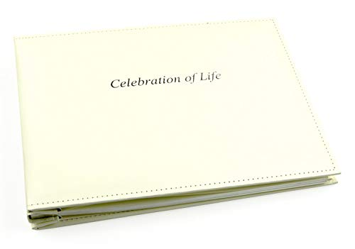Esposti Celebration of Life Condolence Book - Loose Leaf - Funeral Guest Registration - Presentation Boxed - Pale Ivory - (Size 26cm x 19.5cm x 3.1cm)