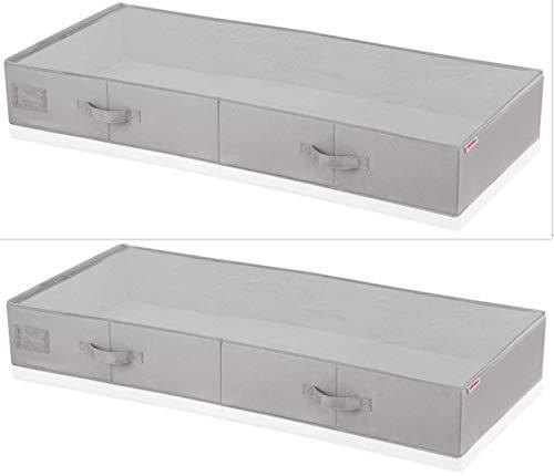 Leifheit 2X Unterbettkommode groß grau für Extra-Stauraum, 2 Kommoden aus Stoff für staubfreie Lagerung, stabile Aufbewahrungsbox mit Sichtfenster