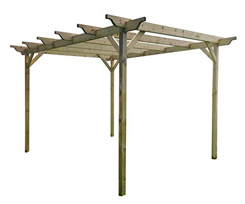 Wooden Garden Structure Pergola 4.8m x 4.8m - 6 Posts - Light Green - Sculpted Rafters - Hand Made Arbour From Pressure Treated Timber