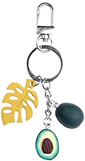 Luxurious 3 Pcs New Simulation Fruit Avocado Heart-Shaped Keychain Fashion Jewelry Gift for Women Yellow