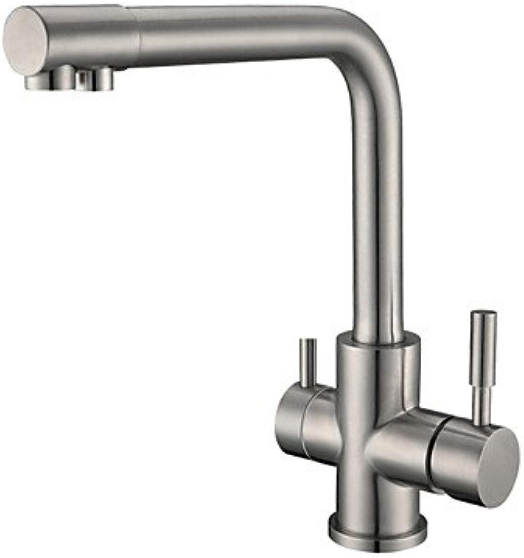 XY&XH Küchenarmatur,Standard-Ausgieer weit verbreitet drehbar mit Keramikventil Zwei Handgriffe EIN Loch für Nickel gebürstet, Küchenarmatur