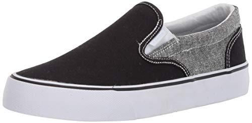Lugz mens Clipper 2 Classic Canvas Slip-on Fashion Sneaker, Black/White, 10.5 US
