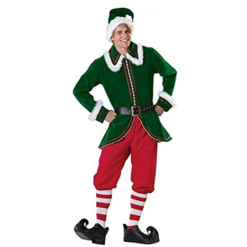 Disfraz de Elfo de Santa para mujer, de lujo, con capucha, para Sra. Claus Santa, Traje + calcetn, XXXL