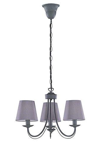 Trio Leuchten Kronleuchter 110600378 Cortez, Metall grau, Stoffschirm grau, exkl. 3 x E14