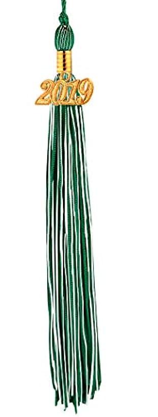 [2019 Upgrade]HEPNA Uniforms Graduation Cap Tassel for Graduation Photography,Double Color Emerald Green/White,2019 Year Charm