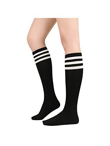 Century Star Women s Athletic Knee High Socks Thin Stripes Tube Socks High Stockings Outdoor Sport Socks 1 Pack Black White One Size