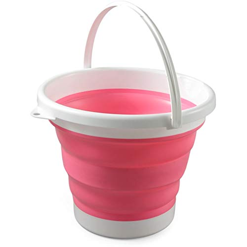 10 Ltr Foldable basket,Portable Collapsible Bucket Foldable Pail With Handle, For Camping Travelling Fishing Campervan Window Car Washing Household Cleaning,Red