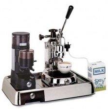 La Pavoni Chrome Combo set 3: Handhebel Espressomaschine La Pavoni EL, La Pavoni Kaffemühle JDL und La Pavoni Grundplatte - Made in Italy