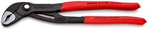 Knipex 87 01 300 SB - Cobra Tenaza para bombas de agua Hightech (recubiertos de plástico antideslizante, 300 mm), gris atramentado