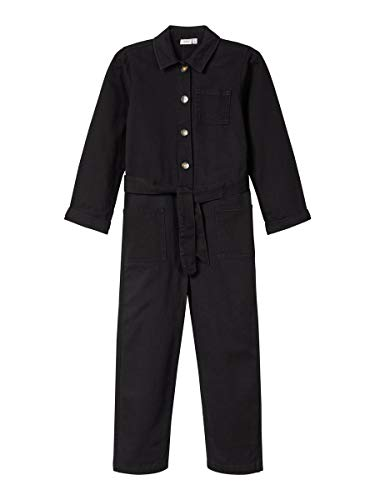 NAME IT 13176733 Pantalones de Peto, Negro (Black Denim Black Denim), 116 para Niñas