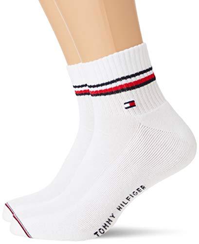 Tommy Hilfiger Unisex-Child Iconic Men's Quarter (2 Pack) Socks, Weiß, 43/46