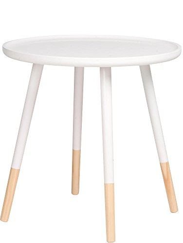 Warenhandel König Table basse ronde en bois - Diamètre : 48 cm - Couleur : blanc