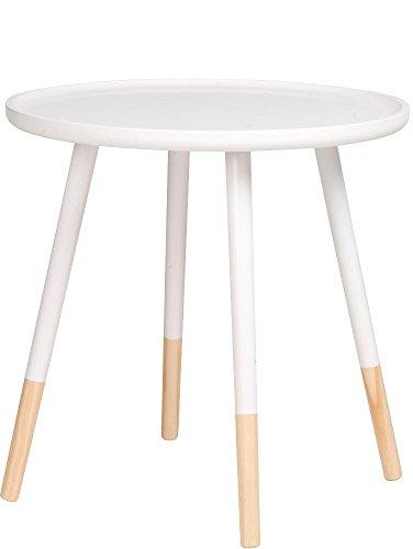 Table basse ronde en bois - Diamètre : 60 cm - 48 cm, Bois, Blanc., Ø 48 cm