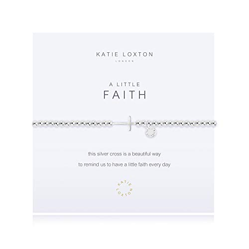 Katie Loxton A Little Faith Horizontal Cross Silver Women's Stretch Adjustable Cross Charm Bangle Bracelet