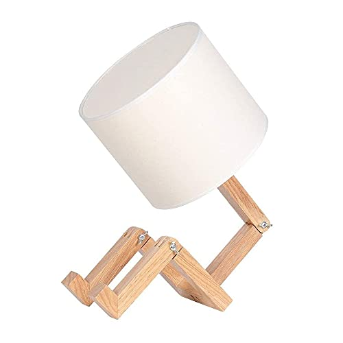 Lámpara de mesa plegable humanoide, lámpara de mesa de madera ajustable con...