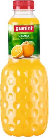granini Fruchtsaft, TRINKGENUSS, Orange ohne Fruchtfleisch, Flasche, 6 x 1 l (6 l), Sie erhalten 6 x 1 l