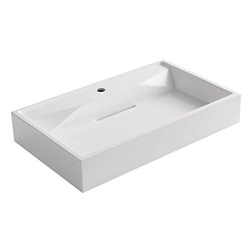 STONEART Waschbecken BB087-3E (Mineralguss) weiß/75cm/glänzend