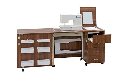Comfort 2 | Mueble para máquina de coser | (Lakeland Acacia Light, L (Air-Lifter 15kg))