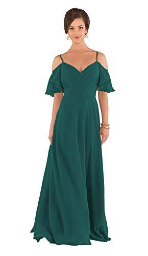 ViolaDresses Women's A-Line Off Shoulder Bridesmaid Dress Long V-Neck Chiffon Prom Gown Wedding Evening Party Skirt Teal 8