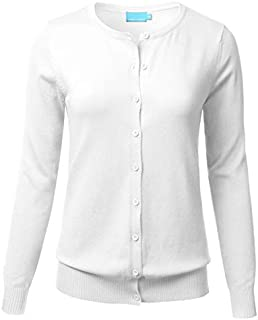 FLORIA Women's Button Down Crew Neck Long Sleeve Soft Knit Cardigan Sweater (S-3X)