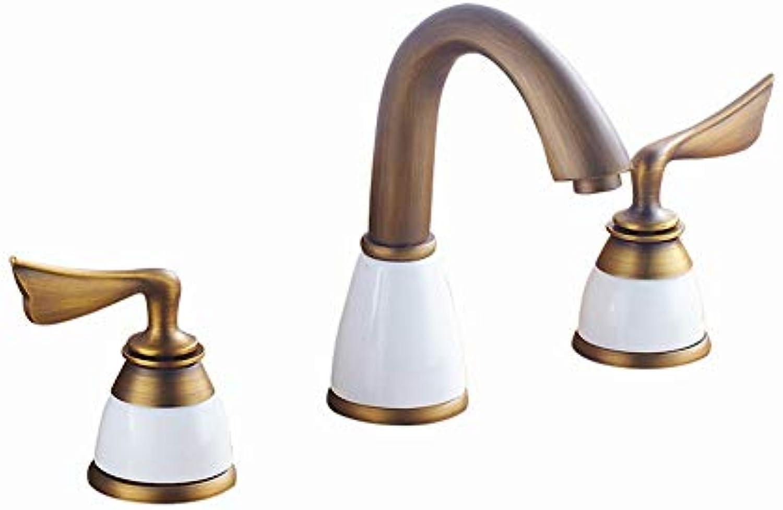 Ddlli Antikes Waschbecken Waschbecken Wasserhahn Split Drei Lcher Heies Und Kaltes Wasser Doppel Offene Trennung Kupfer