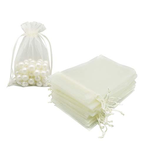 Organza-Säckchen 10x15 cm 100 Stück, beige Netz-Schmuckbeutel Süßigkeiten Kordelzug Geschenkbeutel kleine Beutel für Weihnachten Hochzeit Verschenkungen