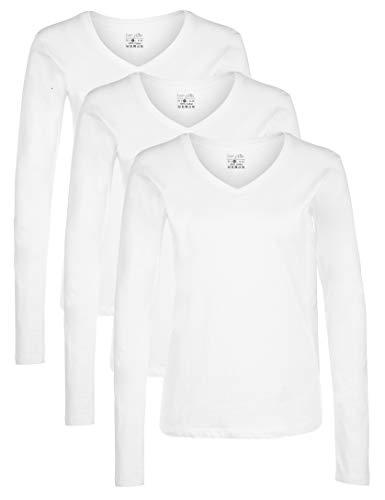 Berydale Damen Langarm-Shirt mit V-Ausschnitt aus 100 % Baumwolle, 3er Pack, Weiß, L