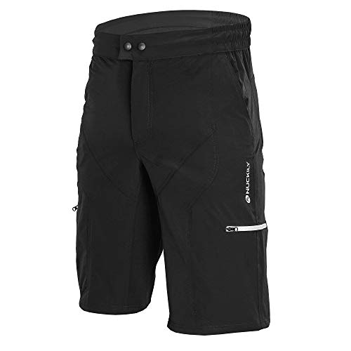 NUCKILY Mens MTB Mountain Bike Cycling Shorts Loose fit Bicycle Biking Riding Short Cycle Wear (Black, XL)
