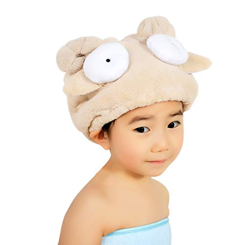 Toalla secador niños niñas sombrero Cheveaux secado turbante microfibra Super absorbente diseño Cartoon Mignon gorro de baño ducha ligero dulce secado rápido para casa viaje Spa piscina Mouton Brun