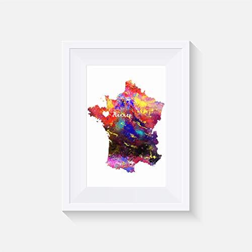 Frankreich - Rennes - Inspiriert - Drucken - Poster - Aquarell - Wandkunst- verschiedene Größen(Rahmen Nicht Inbegriffen)