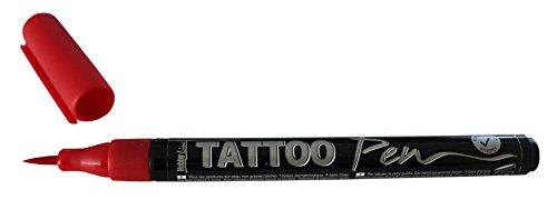 Kreul 62101 - TattooPen, Kosmetiktinte auf Wasserbasis, hält bis zu 5 Tage, dermatologisch getestet, vegan, parabenfrei, auswaschbar ab 30°C aus den meisten Textilien, Strichstärke 0,5 - 3 mm, rot