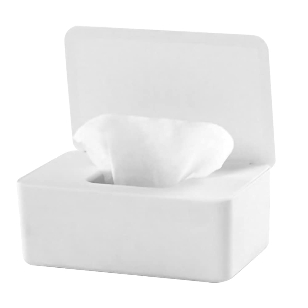 Baby Wipe Dispenser Holder, Baby Wipes Case, Baby Wipe Holder Keeps Diaper Wipes Fresh, Easy Open & Close Wipe Container (White)