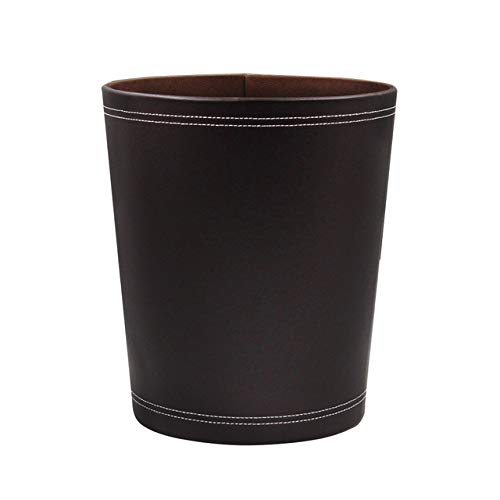 WUJIANCHAO Waste Paper Basket Hotel Living Room Trash Can Office Home Bathroom Modern Bin Garbage PU Leather Large Capacity Round Kitchen Waste Bins
