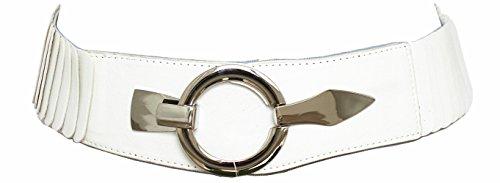 Damen Gürtel Leder Taillengürtel Hüftgürtel One Size Stretch Gürtel #SA-73 (Uni Weiß)